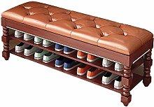XIN Wooden Shoe Rack Storage Chest Change Shoe