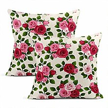 Xincow Set of 2 Cushion Covers Rose Red Pink Roses