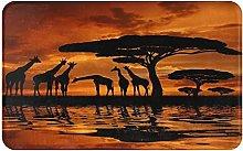 XINGAKA carpet bath mat,rug,Giraffe Silhouette