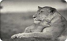 XINGAKA carpet bath mat,rug,Lioness Playing With A