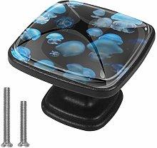 Xingruyun Cabinet knobs 4 pack Blue jellyfish