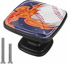 Xingruyun Cabinet knobs 4 pack Flame baseball