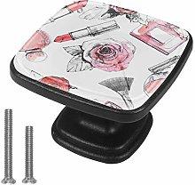 Xingruyun Cabinet knobs 4 pack Flowers lipstick