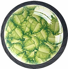 Xingruyun Cabinet knobs 4 pack Green Leaves