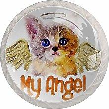 Xingruyun Cabinet knobs 4 pack Kitten Angel