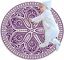 Xingruyun Circle Rug Classical Purple Mandala