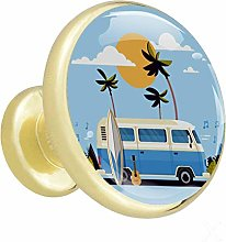Xingruyun Cupboard knobs gold Cartoon Bus Blue