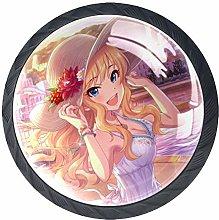 Xingruyun Drawer Knobs Anime Girl (137) Round