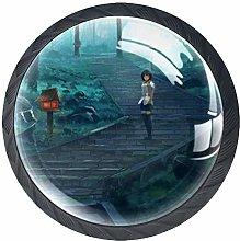 Xingruyun Drawer Knobs Anime Landscape (7) Round