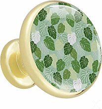 Xingruyun Kitchen cabinet knobs gold Green Leaves