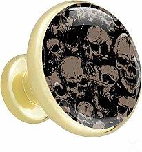 Xingruyun Kitchen cabinet knobs gold Skull