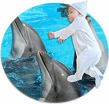 Xingruyun Nursery Area Rug Dolphin Play Mat