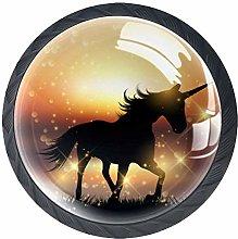 Xingruyun Wardrobe knobs Unicorn sunset dresser