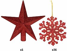 XINGYUE 36PCs Plastic Christmas Glitter Snowflake