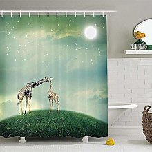 XINKONG Shower Curtain Mother Child Animal On