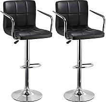 XINLEI 2PCS Horizontal Line Upholstered Bar Chair