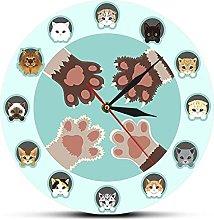 xinxin Wall Clock Different Cat Breeds Cartoon
