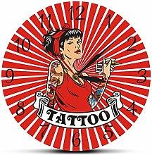 xinxin Wall Clock Female Tattooist With Tattoo Gun