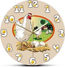 xinxin Wall Clock Fresh Eggs Hen Chicken Coop