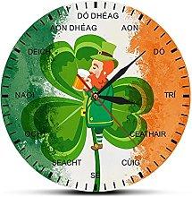 xinxin Wall Clock Ireland Flag Shamrock Clock Four