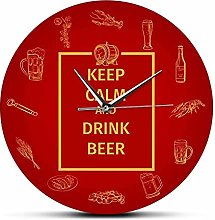 xinxin Wall Clock Keep Calm And Drink Beer Wine