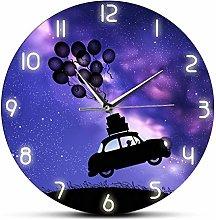 xinxin Wall Clock Retro Car Flies Unreal Illusion