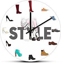 xinxin Wall Clock Various Shoes Print Wall Clock