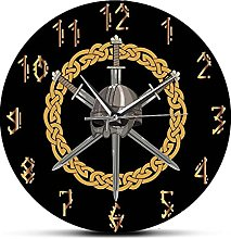 xinxin Wall Clock Viking Helmet With Three Crossed