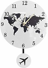 xinxin Wall Clocks Earth Globe World Map Pendulum