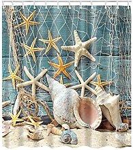 XIYAO Starfish Beach Theme Shower Curtain,