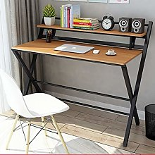 XJN Folding Computer Desk Table with Wooden Desk
