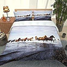 XKALXO Duvet Cover Set 3D Animal horse by the