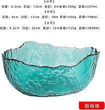 XKMY Salad Bowl Glass Bowl Irregular Gold Inlay