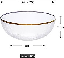 XKMY Salad Bowl Gold Inlay Edge Glass Salad Bowl