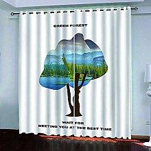 XKSJWY Kitchen Curtains 3D Green Wood Print
