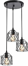 XKUN 3 Lights Wrought Iron Chandelier Hollow