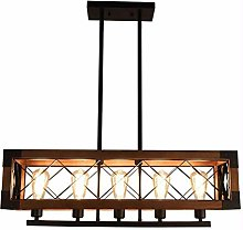 XKUN Retro Industrial Chandelier Adjustable Wood