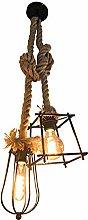XKUN Vintage Rope Pendant Ceiling Lamp Industrial