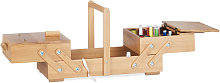 XL Bamboo Sewing Box, Many Compartments, Foldable,