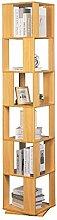 XLTT Rotating 6 Tiers Bookshelf Wooden Corner