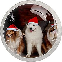 Xmas Christmas Dog Animal (Set of 4) Crystal Glass