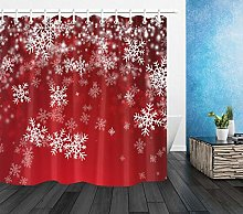 Xmas Red Background White Snowflakes Waterproof