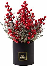 XMCF Artificial Flower in Pot Christmas Red