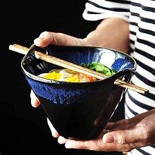 xmwm Ceramic Bowl of Ramen Soup Bowl Dark Blue