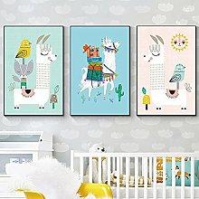 XMYC Art poster Nursery Posters Cartoon Llama With