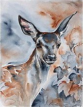 XMYC Nordic style Abstract Watercolor Deer Oil