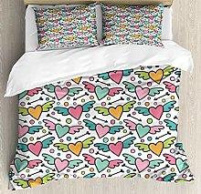 XOXUN Cartoon Duvet Cover Set, Colorful Hearts
