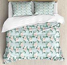 XOXUN Floral Duvet Cover Set, Repeating Pastel