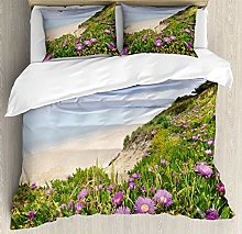XOXUN Wildflower Duvet Cover Set, Aegean Sea with