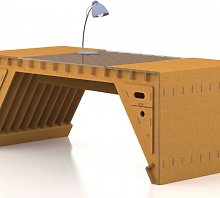 XSCT02 TRAYO 02 DESK WITH CENTRAL GLASS TOP